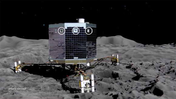 This artist's concept of the Rosetta mission's Philae lander on the surface of comet 67P/Churyumov-Gerasimenko, is from an animation showing the upcoming deployment of Philae and its subsequent science operations on the surface of the comet. Image credit: ESA