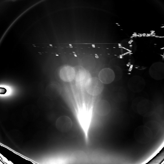 The image was taken with the lander's CIVA-P imaging system and captures one of Rosetta's solar arrays. It was stored onboard the lander until the radio link was established with Rosetta around two hours after separation, and then relayed to Earth.  Image via ESA
