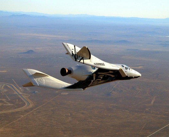 SpaceShipTwo - shown here in a successful test flight over the Mojave Desert in late 2012 - is a six-passenger, two-pilot spaceship owned by Virgin Galactic.