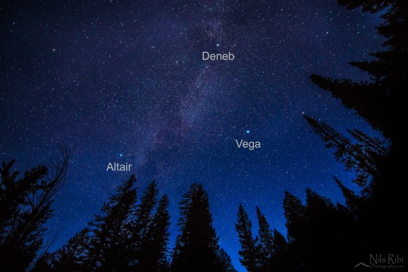 Nils Ribi caught this photo of the Summer Triangle on a northern autumn evening - November 8, 2014.  View larger and read Nils' story of this photo.