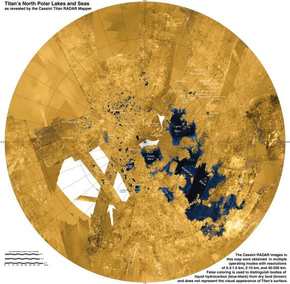 View larger. | Seas on Saturn's moon Titan, via Cassini spacecraft