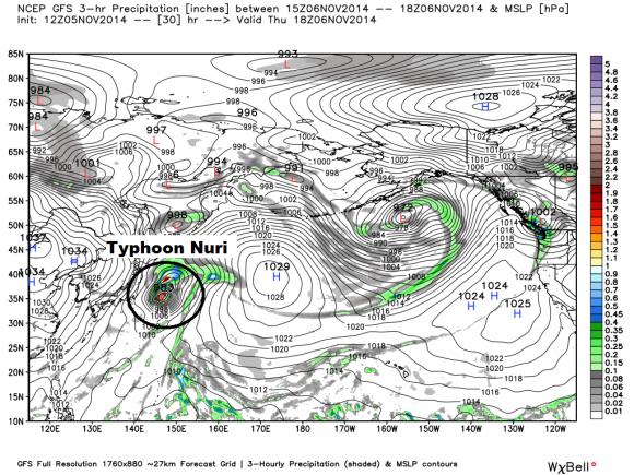 GFS model showing Typhoon Nuri on November 6, 2014.  Image Credit: Weatherbell