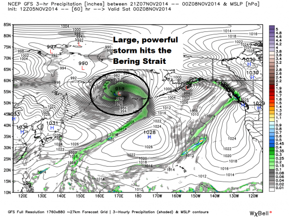 A mega storm forms near the Bering Strait Friday evening into Saturday morning via GFS model. Image Credit: Weatherbell