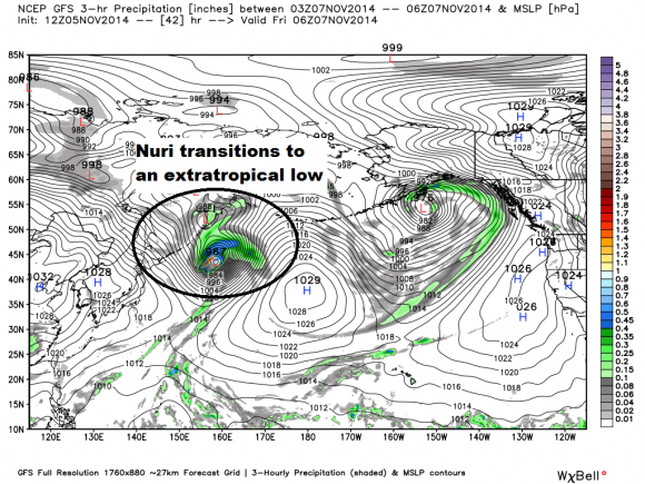 Typhoon Nuri becomes extratropical as it gains energy from the Northern Pacific jet stream. Image Credit: GFS via Weatherbell