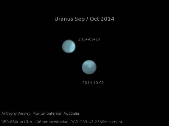Optical images of Uranus on Sept. 19 and Oct. 2, showing the dramatic appearance of a bright storm on a planet that normally displays only a diffuse bright polar region. Image courtesy of amateur astronomer Anthony Wesley, Murrumbateman, Australia.