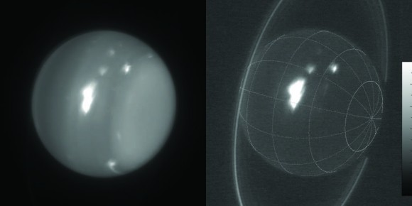 Infrared images of Uranus (1.6 and 2.2 microns) obtained on Aug. 6, 2014, with adaptive optics on the 10-meter Keck telescope. The white spot is an extremely large storm that was brighter than any feature ever recorded on the planet in the 2.2-micron band. The cloud rotating into view at the lower-right limb grew into the large storm that was seen by amateur astronomers at visible wavelengths. Image credit: Imke de Pater (UC Berkeley) & Keck Observatory.