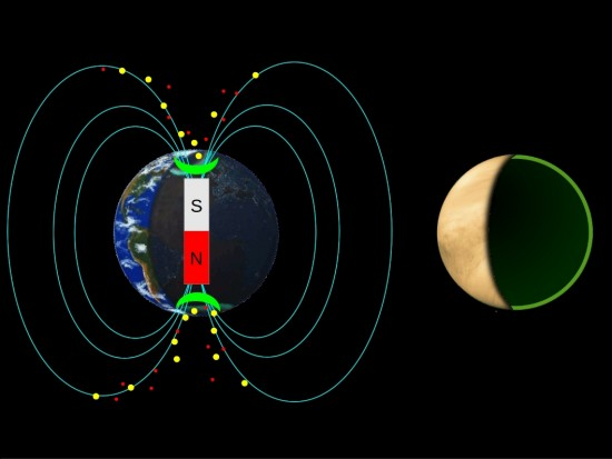 In the presence of a magnetic field, Earth's auroras (shown in green) are primarily seen over the poles.  On Venus, which lacks a magnetic field, auroras might occur at all latitudes.  Image courtesy Candace