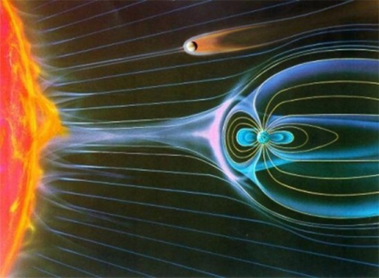 This depiction shows the magnetic tail (brown) trailing Venus, while Earth's magnetic field (blue) deflects the solar wind.  Illustration via ESA.