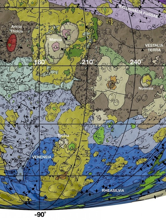 View larger. | In this detail from the new geological map of Vesta, brown colors represent the oldest, most heavily cratered surface. Purple colors and light blue represent terrains modified by the Veneneia and Rheasilvia impacts, respectively. Light purples and dark blue colors below the equator represent the interior of the Rheasilvia and Veneneia basins. Greens and yellows represent relatively young landslides or other downhill movement and crater impact materials, respectively. Tectonic features such as faults are shown by black lines. Photo by: NASA/JPL-Caltech/Arizona State University