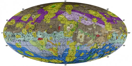 This high-resolution geological map of Vesta is derived from Dawn spacecraft data. Image via NASA/JPL-Caltech/ASU