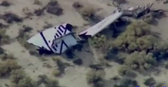 One of two tail sections (empennage) of SpaceShiipTwo lies on the Mojave desert moments after its breakup during test flight. (Credit: Mojave Rescue & Emergency Response Team)