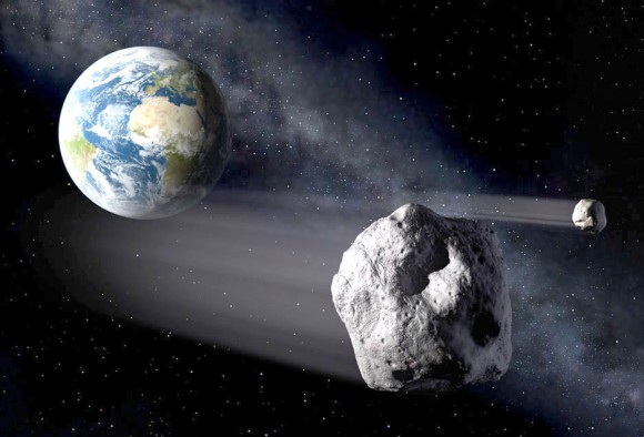 Artist's concept of asteroids passing Earth.  Via ESA/P.Carril