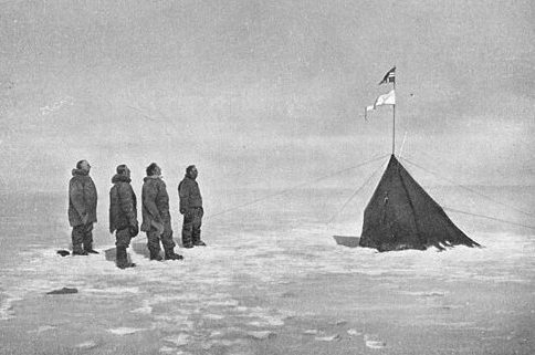 This tent was upright at the South Pole on December 16, 1911, two days after explorer Roald Amundsen and four others reached the pole for the first time. The top flag is Norway's.  The bottom is marked