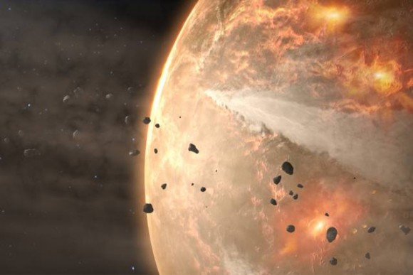 Relentless blitz of small space rocks erased much of Earth's primordial atmosphere