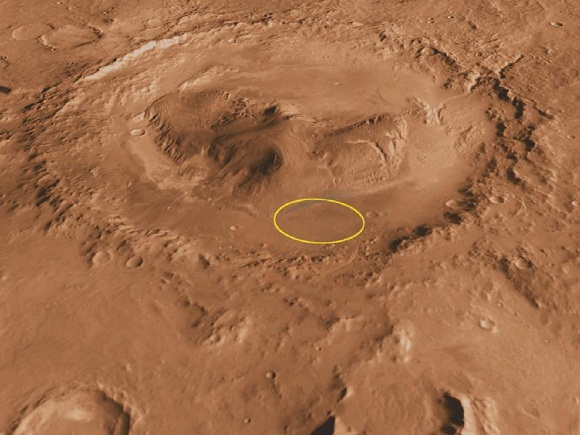 Curiosity's approximate landing site within Gale Crater.  Mount Sharp is the central peak.  Image via NASA/JPL
