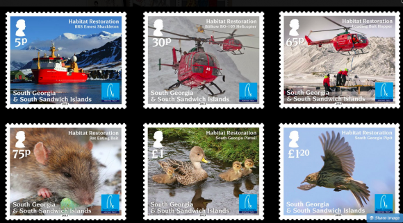 To commemorate the rat eradication campaign, South Georgia issued a set of stamps, pictured here.