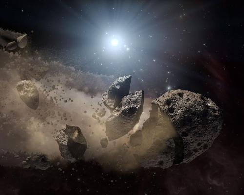 Artist's concept of an asteroid breaking up, via NASA/JPL