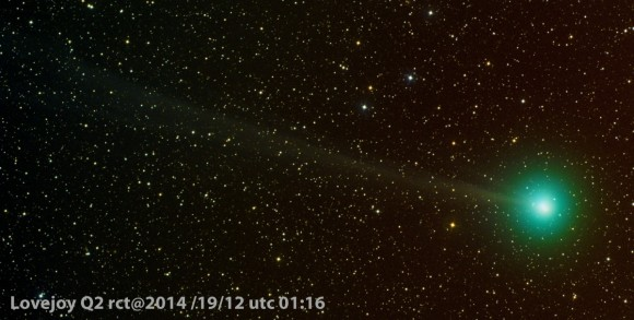 View larger. | Comet Lovejoy seen on December 19, 2014 by Eric Recurt.  Eric was in Tenerife Island, Spain - 28 degrees N. latitude!  So you can see that the comet is already coming into view for northern observers.