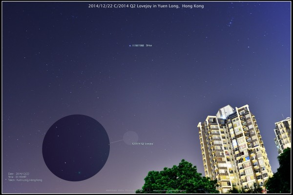 View larger. | How you see Comet Lovejoy will depend on your equipment and sky conditions.  Matthew Chin in Hong Kong captured this photo of the comet on December 22, 2014, when the comet was in the constellation Columba.
