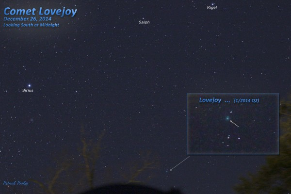 View larger.   Patrick Prokop in Savannah, Georgia captured this image of Comet Lovejoy on December 26.