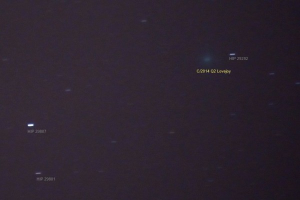 Annie Lewis near Madrid, Spain was able to capture the comet by creating a long-exposure photo.  This shot is from December 22, 2014.  Annie said,