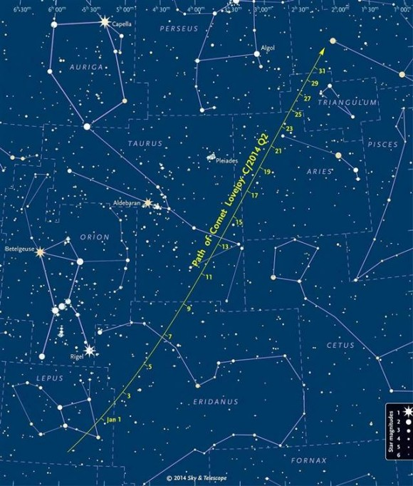 This chart comes from skyandtelescope.com, which has a fine article on observing Comet Lovejoy.