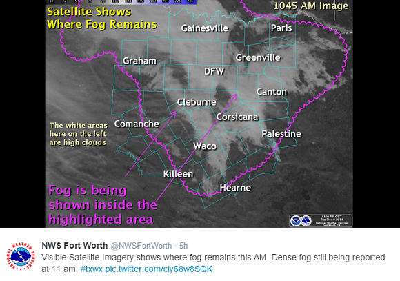NWS Fort Worth tweet showing the fog from satellite imagery.
