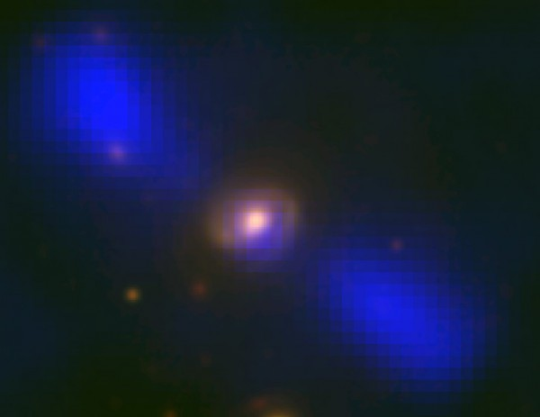 View larger. | Strange galaxy J1649+2635 via NRAO