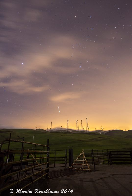 Marsha Kirschbaum caught a Geminid over the San Francisco Bay area.