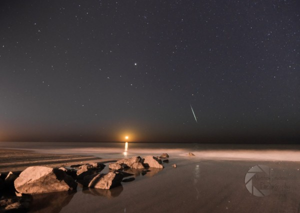The moon and a Geminid meteor, over Myrtle Beach, South Carolina, by Matthew Trudeau Photography.