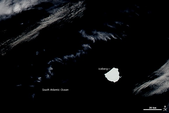 NASA's Aqua satellite captured this image of a large, unnamed iceberg moving in the South Atlantic on December 5, 2014.  Image via NASA Earth Observatory.