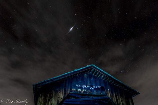 Iridium flare by brothers Lee and Joe Hartley over Watson Mill State Park, Georgia.