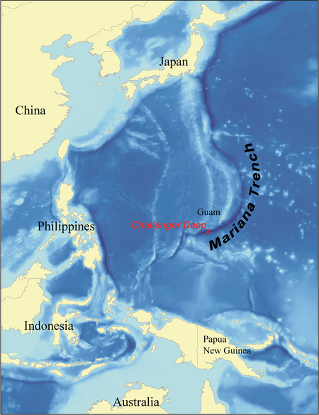 Mariana Trench in the western Pacific.  The trench is some 1,580 miles long (about 2,550 km), with an average width of only 43 miles (69 km).   Image via Wallace at Wikimedia Commons.
