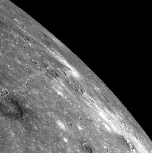 A limb view showing the northern part of the 1,640 kilometer- / 1,018-mile-wide Caloris Basin within the Raditladi Quadrangle in the northern hemisphere on Mercury.  MESSENGER acquired this image on October 18, 2014.  Read more about this image from Andrew R. Brown.