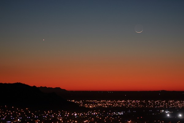 Hector Barrios caught the moon and Venus on December 22, 2014 from Hermosillo, Mexico.  Thank you, Hector.