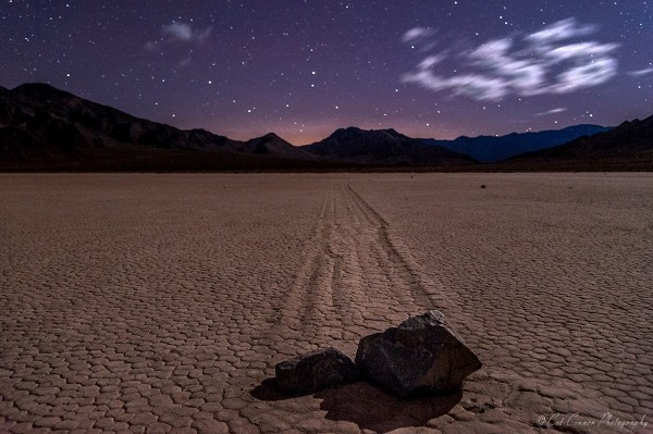 A sliding stone at Death Valley's famous Racetrack Playa.  Cat Connor captured this photo on Christmas Day - December 25, 2014.  Visit Cat Connor's website.