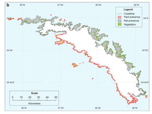 "Spacial distribution of rats and pipits on South Georgia island. A.J. Cook, S. Poncet, A.P.R. Cooper, D.J. Herbert and D. Christie, ""Glacier retreat on South Georgia and implications for the spread of rats"" Antarctic Science, Volume 22 