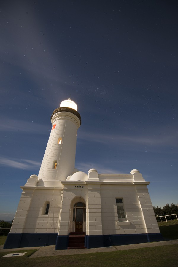 From southerly latitudes on Earth's globe, the Southern Cross is higher in the sky.  This image features the Southern Cross, including the Pointers, prominently over the tower of the Norah Head Lighthouse.  Multiple other stars and objects, including Omega Centauri globular cluster are visible.  Photo taken June 2, 2015 by Darren Rickett at Norah Head lighthouse in Australia.
