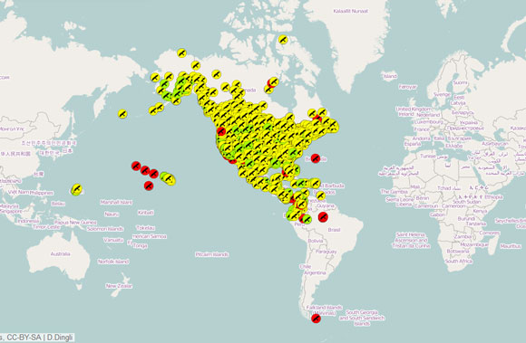 Screenshot of participant circles for the 2014 Christmas Bird Count. Image appears courtesy of the National Audubon Society.