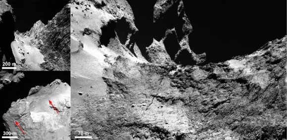 OSIRIS images of Comet 67P/Churyumov–Gerasimenko showing the details of a 500 m-long crack running through the Hapi region. A context image showing the smooth, boulder-strewn Hapi region and the Hathor cliff face to the right is shown in the top left panel. The bottom-left panel indicates the crack extending across Hapi and beyond. The right panel shows the crack where it leaves Hapi and extends into Anuket, with Seth at the uppermost left and Hapi in the lower left. Top left: Hapi and Hathor Bottom left: Crack extension in Hapi  Right: Crack extension in Anuket. Image credits: ESA/Rosetta/MPS for OSIRIS Team MPS/UPD/LAM/IAA/SSO/INTA/UPM/DASP/IDA