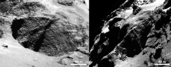 Close-ups of a curious surface texture nicknamed 'goosebumps'. The characteristic scale of all the bumps seen on Comet 67P/Churyumov–Gerasimenko by the OSIRIS narrow-angle camera is approximately 3 m, extending over regions greater than 100 m. They are seen on very steep slopes and on exposed cliff faces, but their formation mechanism is yet to be explained. Image credits: ESA/Rosetta/MPS for OSIRIS Team MPS/UPD/LAM/IAA/SSO/INTA/UPM/DASP/IDA