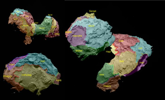 The 19 regions identified on Comet 67P/Churyumov–Gerasimenko are separated by distinct geomorphological boundaries. Following the ancient Egyptian theme of the Rosetta mission, they are named for Egyptian deities. They are grouped according to the type of terrain dominant within each region. Five basic categories of terrain type have been determined: dust-covered (Ma'at, Ash and Babi); brittle materials with pits and circular structures (Seth); large-scale depressions (Hatmehit, Nut and Aten); smooth terrains (Hapi, Imhotep and Anubis), and exposed, more consolidated ('rock-like') surfaces (Maftet, Bastet, Serqet, Hathor, Anuket, Khepry, Aker, Atum and Apis). Image credit: ESA/Rosetta/MPS for OSIRIS Team MPS/UPD/LAM/IAA/SSO/INTA/UPM/DASP/IDA