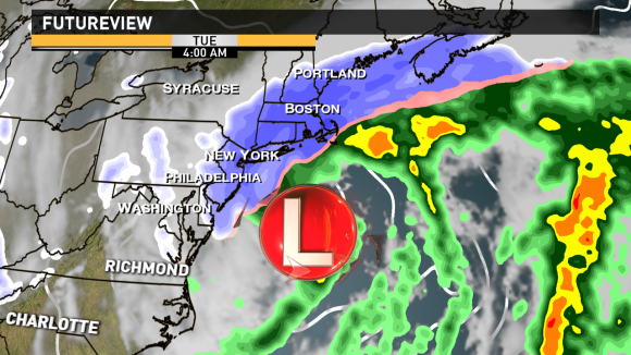 RPM model hinting at a very heavy band of snow forming tonight into Tuesday across NYC and Boston. Image Credit: 13 WMAZ Weather