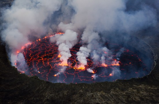 Lava Lake of Nyiragongo volcano in Virunga National Park in the Democratic Republic of the Congo.  Image via Caitjeenk via Wikimedia Commons