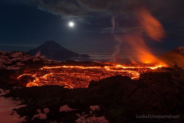 Tolbachik volcano in Russia in 2013.  Photo by Liudmila and Andrey.