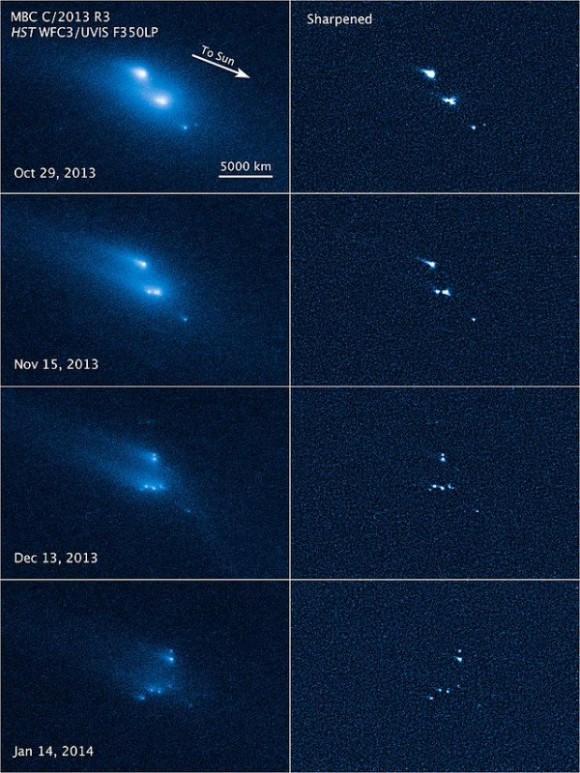 View larger.  |  This series of Hubble Space Telescope images reveals the breakup of an asteroid over a period of several months starting in late 2013. The largest fragments are up to 180 meters (200 yards) in radius.  Image via NASA, ESA, D. Jewitt (UCLA)