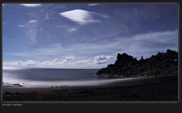 The Project Nightflight team captured this photo at La Palma Island in the Canary Islands of Spain.  Click here to visit Sounds of the Night, where you can see this photo and hear the sound of the waves.