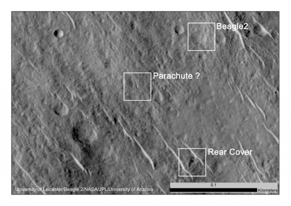 This annotated image shows where features seen in a 2014 observation by NASA's Mars Reconnaissance Orbiter have been interpreted as hardware from the Dec. 25, 2003, arrival at Mars of the United Kingdom's Beagle 2 Lander.