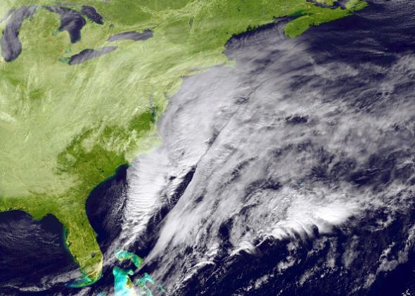 Blizzard poised to slam U.S. Northeast on Monday, January 26 via NOAA/NASA GOES