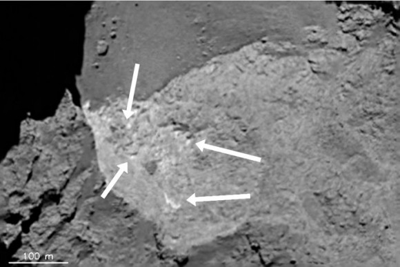 Local bright spots, less than 10 m across (labelled) and seen in an alcove in the Hathor region are compositionally distinct from the surrounding terrain. The image was taken by the OSIRIS narrow-angle camera on 7 August 2014. Image credits: ESA/Rosetta/MPS for OSIRIS Team MPS/UPD/LAM/IAA/SSO/INTA/UPM/DASP/IDA